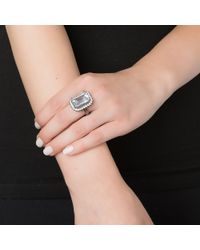 Kenneth Jay Lane | Gray Pave Border Cocktail Ring | Lyst