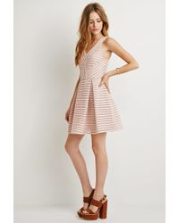 Forever 21 - Pink Textured Fit & Flare Dress - Lyst