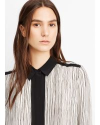 Vince - Black Silk Wavy Stripe Printed Blouse - Lyst
