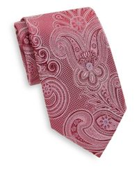 Saks Fifth Avenue | Pink Large Paisley Print Silk Tie for Men | Lyst