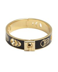 Alexander McQueen - Black And Gold Pierced Skull Bangle - Lyst