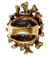 Oscar de la Renta - Metallic Turquoise Coral Branch Resin Ring - Lyst