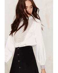 Nasty Gal | White Countess Of Monte Cristo Embroidered Blouse | Lyst