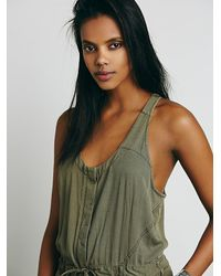 Free People - Green Roaring Rayon Jumpsuit - Lyst