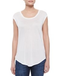 Vince - Natural Twisted Cap-sleeve Slub Tee - Lyst