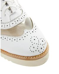 Messeca | White Max Chunky Brogue Shoe | Lyst