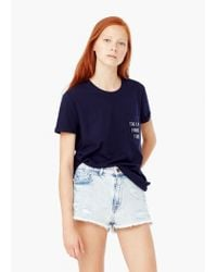 Mango - Blue Pocket Cotton T-shirt - Lyst