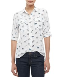 Equipment - White Signature Slim Wandering Horseprint Blouse - Lyst