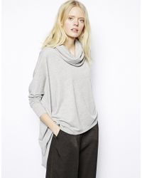 Just Female - Gray Roll Neck Oversized Top - Lyst