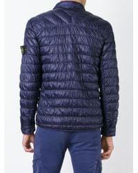 Stone Island   Blue Buttoned Padded Jacket for Men   Lyst