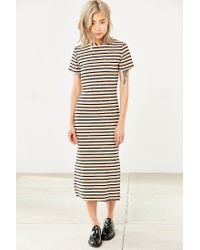 Glamorous - Natural Ribbed Stripe Midi Dress - Lyst