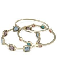 Carolee | Blue Gold-tone Multi-color Crystal Bangle Bracelets | Lyst