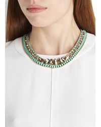 John & Pearl | Green Gold-Plated Swarovski Woven Necklace | Lyst