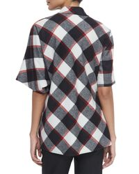 3.1 Phillip Lim - Black Asymmetric Check Top With Utility Strap - Lyst
