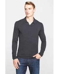 Armani - Gray Johnny Collar Jersey Polo for Men - Lyst