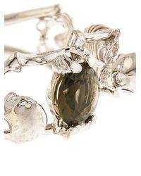 Alexander McQueen - Metallic Double-Skeleton Crystal Bracelet - Lyst