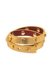 Tory Burch - Metallic Doublewrap Logo Bracelet - Lyst