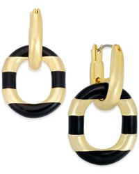 kate spade new york - Metallic Gold-tone Black Enamel Drop Hoop Earrings - Lyst