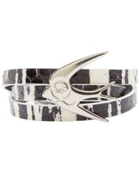 McQ | Metallic Black And White Swallow Charm Bracelet | Lyst