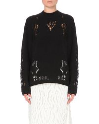 3.1 Phillip Lim | Black Distressed Wool-blend Jumper | Lyst