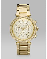 Michael Kors | Metallic Parker Pave Goldtone Stainless Steel Chronograph Bracelet Watch | Lyst