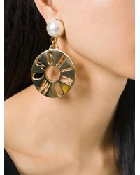 Moschino | Metallic Logo Disc Clip On Earrings | Lyst