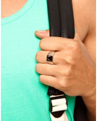 ASOS - Metallic Ring with Geo Triangle for Men - Lyst