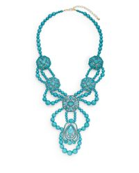 Saks Fifth Avenue | Blue Beaded Medallion Bib Necklace | Lyst