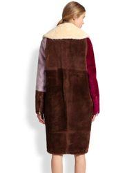 3.1 Phillip Lim - Brown Colorblock Shearling Coat - Lyst
