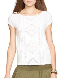 Lauren by Ralph Lauren | White Crochet-Paneled Tee | Lyst