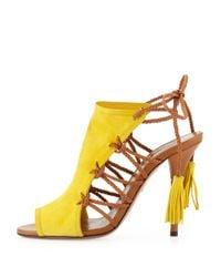Aquazzura | Yellow Sahara Tieback Ankle Bootie | Lyst