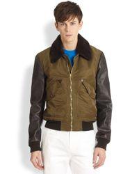 Burberry Brit - Green Contrast Sleeve Flight Jacket for Men - Lyst