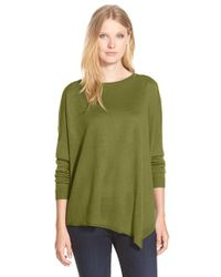 Eileen Fisher - Green Asymmetrical Merino-Wool Top - Lyst