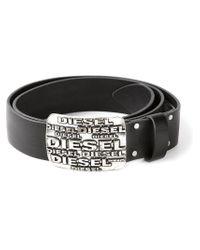 DIESEL - Black Logo Buckle Belt for Men - Lyst