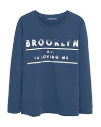 Violeta by Mango - Blue Printed Message Sweatshirt - Lyst