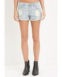 Forever 21 | Blue Distressed Denim Cutoffs | Lyst