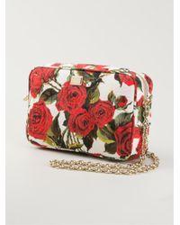 Dolce & Gabbana Red Rose-Print Brocade Shoulder Bag