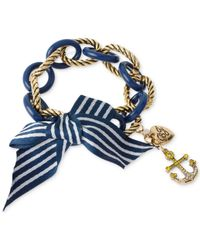 Betsey Johnson | Blue Gold-Tone Chain Link And Striped Bow Stretch Bracelet | Lyst