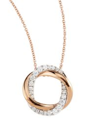 Frederic Sage | Metallic 18k Pink & White Mini Halo Diamond Pendant Necklace | Lyst