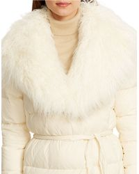 Lauren by Ralph Lauren | Natural Faux Fur-trimmed Quilted Down Wrap Coat | Lyst