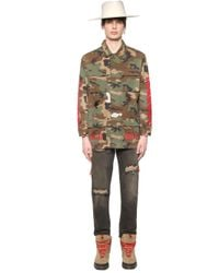 Off-White c/o Virgil Abloh - Green Printed Canvas Field Jacket for Men - Lyst
