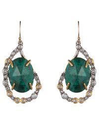 Alexis Bittar | Green Crystal Embellished Tear Drop Earring With Rose Cut Chrysocolla | Lyst