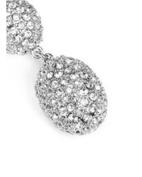 Kenneth Jay Lane - White Crystal Pavé Oval Drop Clip Earrings - Lyst