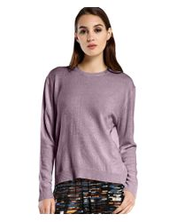 Michael Stars | Purple Cashmere Blend Wide Neck Sweater With Thumbholes | Lyst