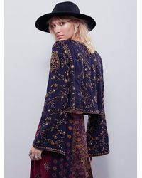 Free People | Blue Womens Embroidered Folk Festival Top | Lyst