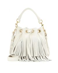 Saint Laurent | Natural Small Bucket Fringed Leather Tote | Lyst