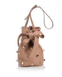 Jimmy Choo | Natural Eve Studded Leather Bucket Bag | Lyst