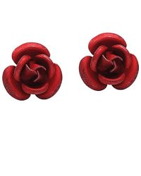 Aeravida - Blooming Red Rose .925 Silver Stud Earrings - Lyst