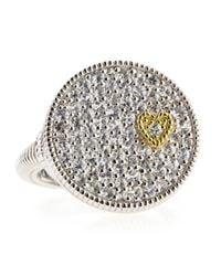 Judith Ripka | Romance White Sapphire Heart Disc Ring 7 | Lyst