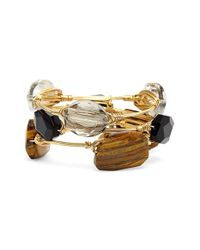 Bourbon and Boweties | Black 'Tiger'S Eye Agate & Jet Acrylic Crystal' Stone Bracelets - Tigers Eye/ Jet (Set Of 3) | Lyst